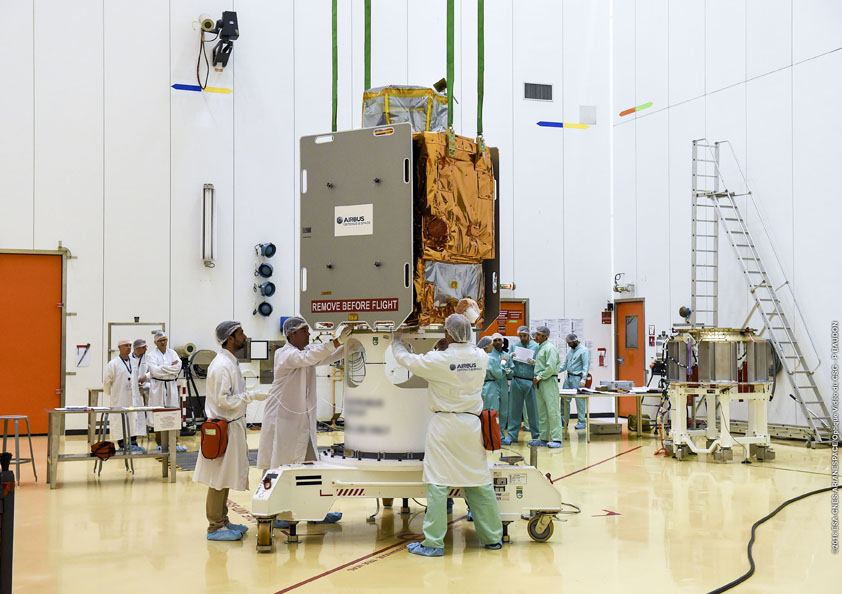 The PeruSat 1 satellite during launch preparations at the Guiana Space Center. Credit: ESA/CNES/Arianespace – Photo Optique Video du CSG – P. Baudon