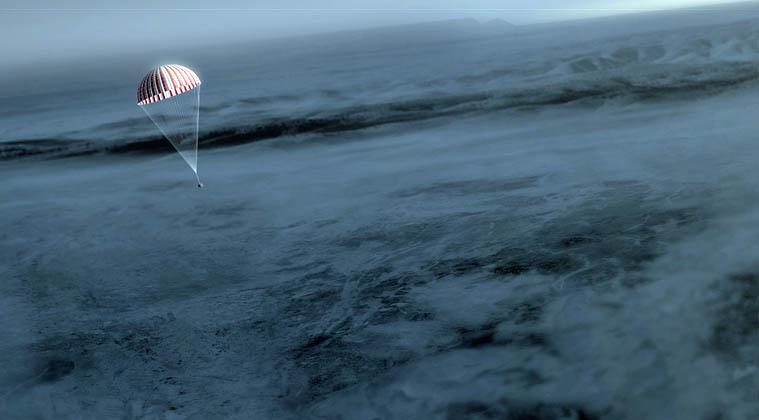An artist's concept of OSIRIS-REx's return capsule on the main parachute. Credit: NASA