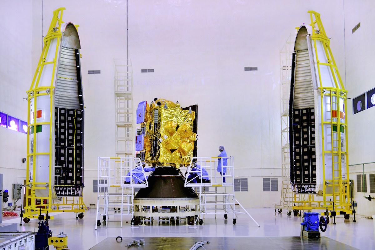 The Insat 3DR satellite before encapsulation inside the GSLV's payload fairing. Credit: ISRO