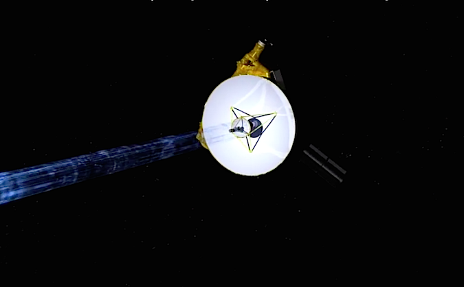 Artist's concept of the New Horizons spacecraft transmitting data back to Earth through its 83-inch (2.1-meter) antenna. Credit: NASA/JHUAPL/SWRI