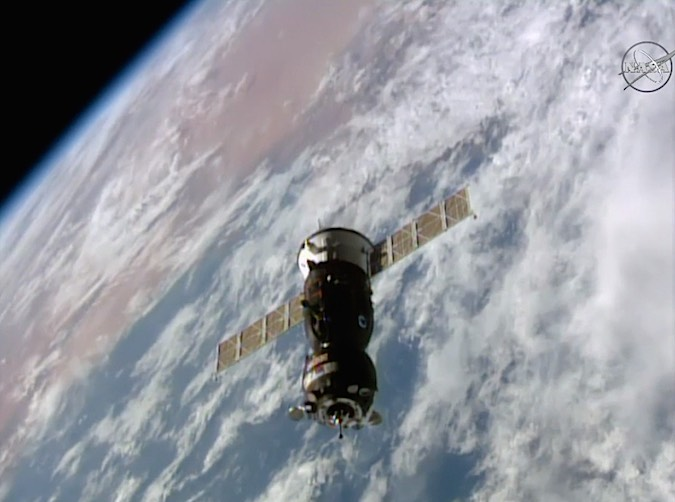 The Soyuz MS-02 spacecraft closes in on docking with the International Space Station on Friday, backdropped by the Sahara and the Mediterranean Sea. Credit: NASA TV/Spaceflight Now