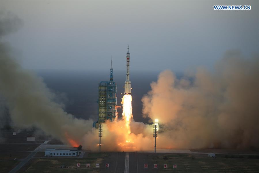 The Shenzhou 11 spacecraft lifted off at 2330 GMT (7:30 p.m. EDT) Sunday, or 7:30 a.m. Beijing time Monday. Credit: Xinhua