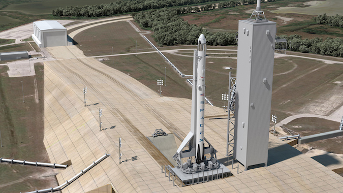 Artist's concept of a Falcon 9 rocket with a Crew Dragon spacecraft on top at launch pad 39A at NASA's Kennedy Space Center in Florida. Credit: SpaceX
