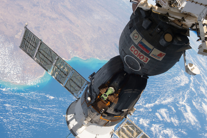 File photo of a Soyuz spacecraft docked at the International Space Station. Credit: NASA