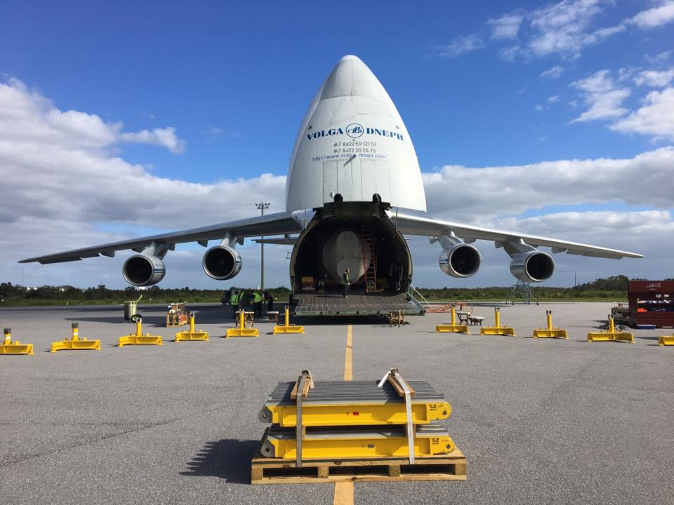 The Atlas 5 first stage was transported to the Cape aboard a giant Antonov aircraft. Credit: 45th Space Wing