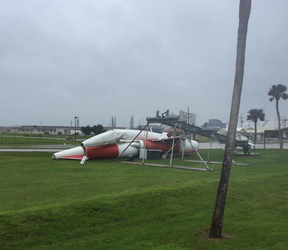The last surviving Navaho missile fell off its display outside the south gate of Cape Canaveral Air Force Station. Credit: 45th Space Wing