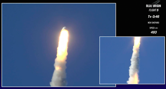 Blue Origin's crew capsule fires its abort motor moments after liftoff on the New Shepard booster. Credit: Blue Origin