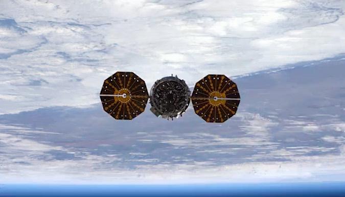 The Cygnus spacecraft flies away from the International Space Station on Nov. 21. Credit: NASA/ESA/Thomas Pesquet
