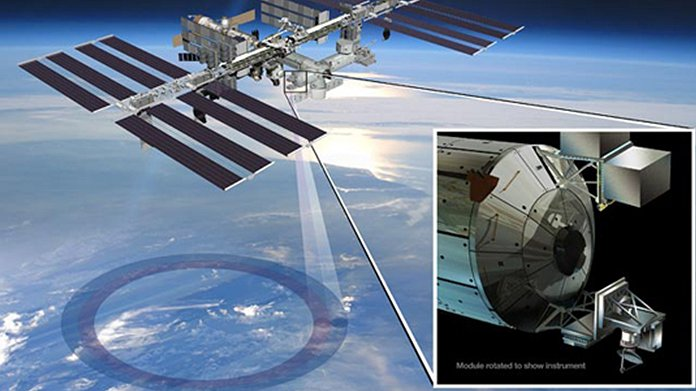 Artist's concept showing the location of the RapidScat instrument on the International Space Station. Credit: NASA/JPL-Caltech