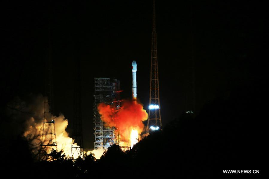 A Long March 3C/G2 rocket lifted off with the fourth Tianlian 1 data relay satellite Tuesday. Credit: Xinhua