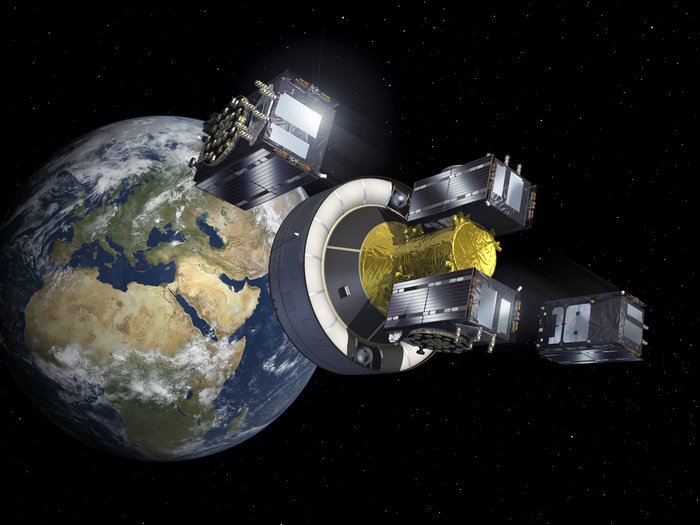 Artist's concept of the four Galileo satellites deploying from the Ariane 5's upper stage. Credit: ESA-P. Carril