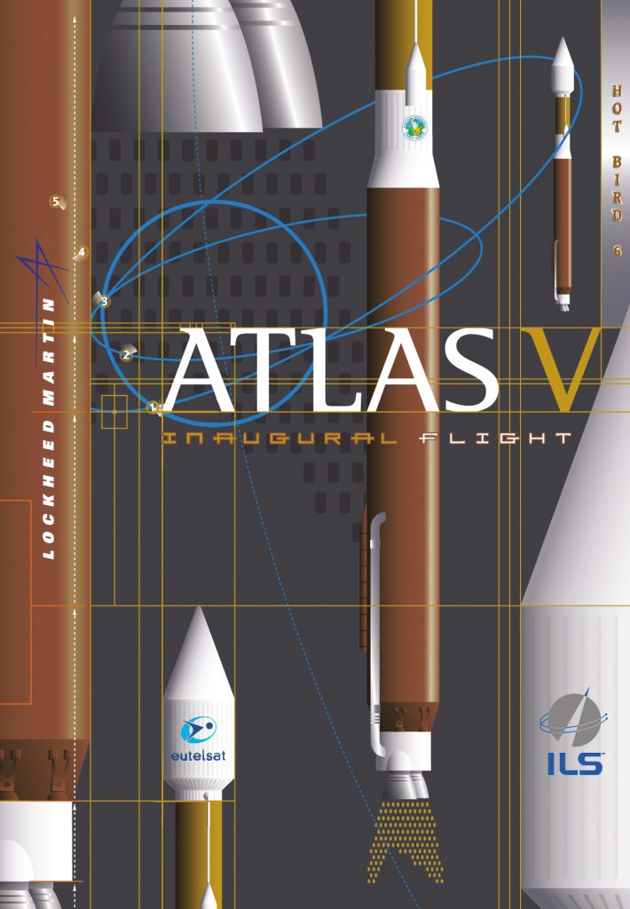 The AV-001 mission poster for the first Atlas 5 launch. Credit: ILS