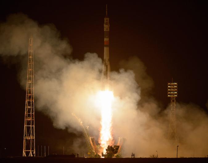 The Soyuz rocket lifted off at 2020 GMT (3:20 p.m. EST) Thursday. Credit: NASA/Bill Ingalls