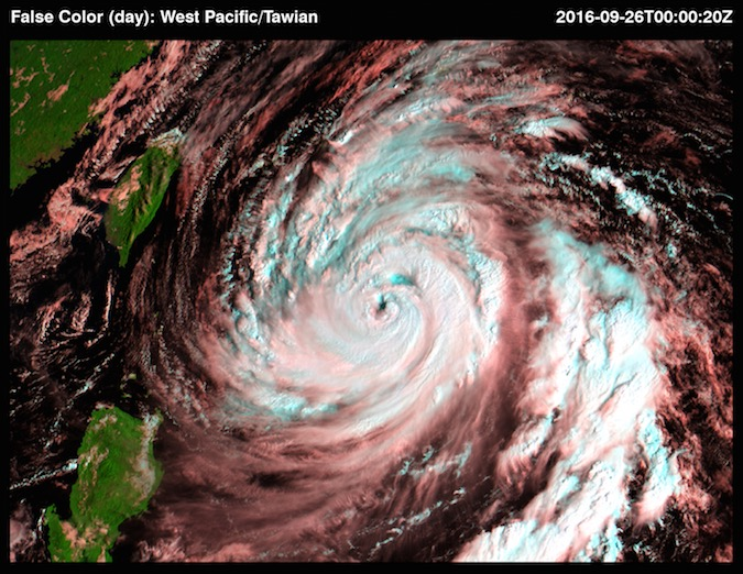 Typhoon Megi churns near Taiwan in this Sept. 26 image from the Advanced Himawari Imager aboard Japan's Himawari 9 weather satellite. Credit: JMA
