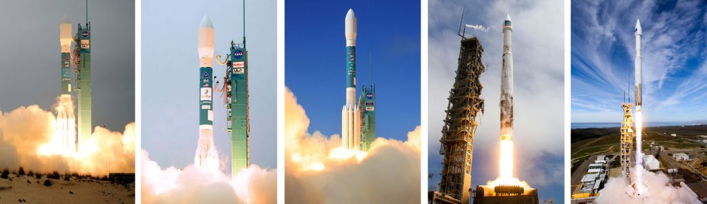 All five of DigitalGlobe's sub-50cm high-resolution imagery satellites were launched by Delta 2 and Atlas 5 rockets since 2007. Photos by ULA