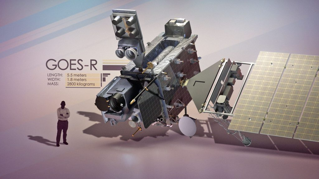 An artist's concept of GOES-R and man for size comparison. Credit: NASA/NOAA