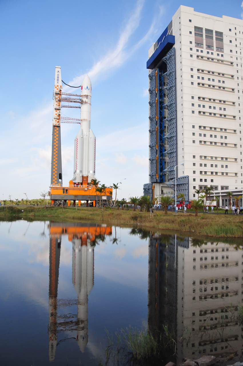The Long March 5 rocket emerges from its assembly building at Wenchang. Credit: CALT