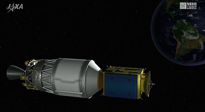 The H-2A rocket's LE-5B second stage engine shuts down after reaching an orbit with a high point of 35,976 kilometers (22,354 miles), a low point of 250 kilometers (155 miles), and an inclination of 22.4 degrees.