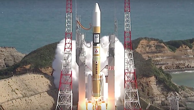 With its LE-7A main engine and two solid rocket boosters firing, the 174-foot-tall H-2A rocket lifts off from the Yoshinobu launch complex on Tanegashima Island. A few moments later, the rocket will complete a pitch program to head east from the launch site.