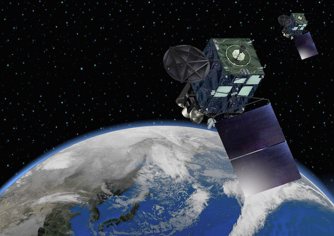 Artist's concept of the Himawari 8 and 9 satellites in orbit. Credit: MELCO