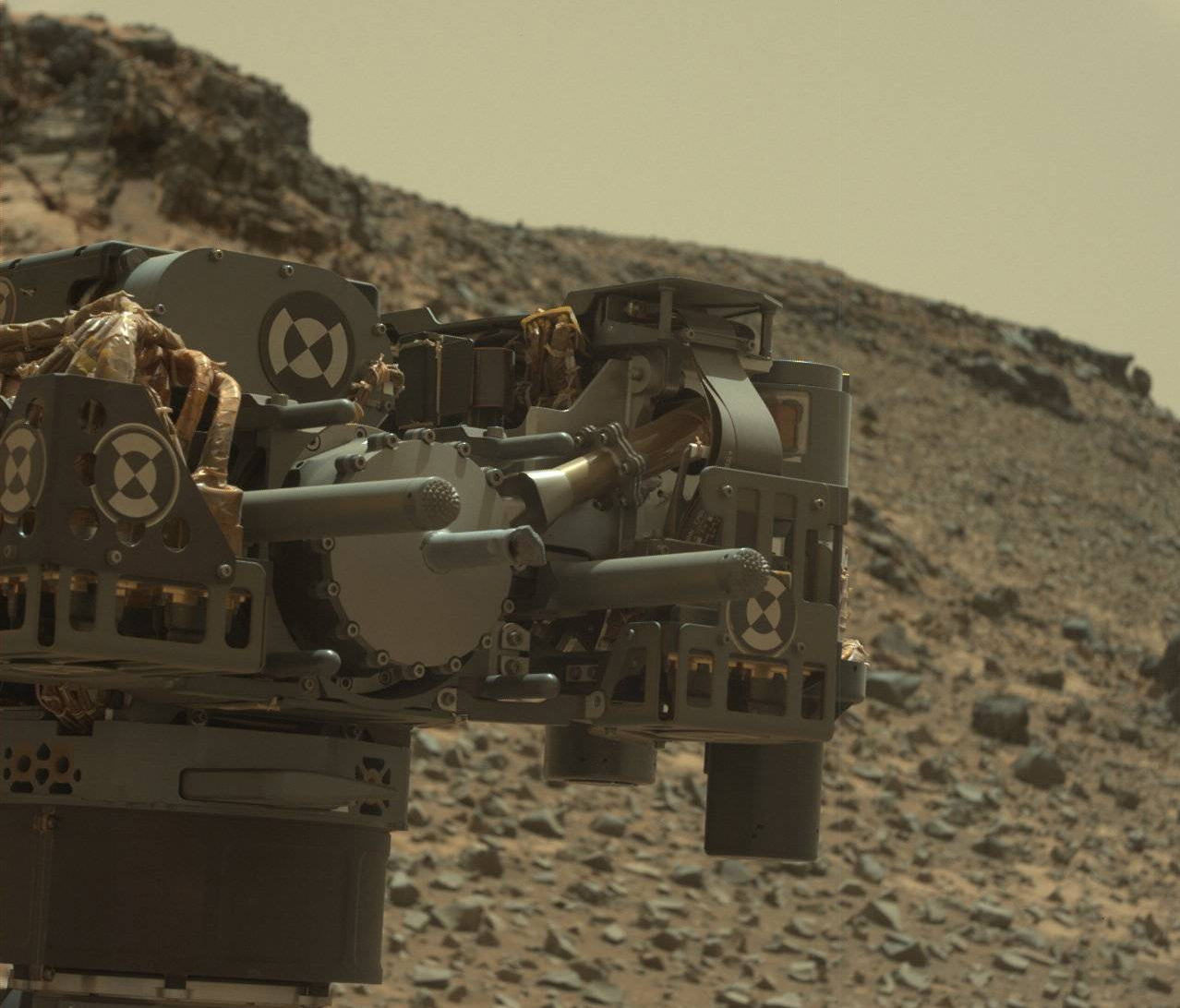 File photo of Curiosity's drill bit from Feb. 24, 2015. Credit: NASA/JPL-Caltech/MSSS