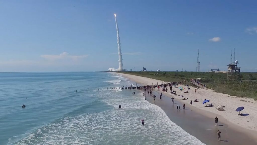 The view of Playalinda Beach when an Atlas 5 launched in June. Credit: United Launch Alliance