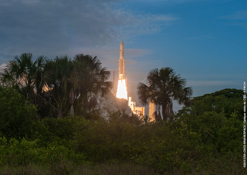 File photo of an Ariane 5 launch in August 2015. Credit: ESA/CNES/Arianespace – Photo Optique Video du CSG – P. Piron