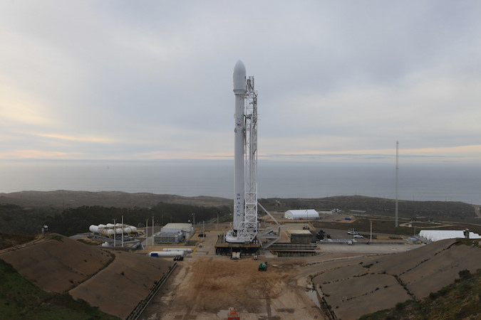 File photo of a Falcon 9 rocket on the launch pad at Vandenberg Air Force Base, California. Credit: NASA/Kim Shiflett