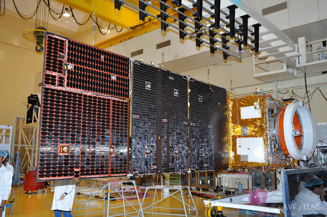 Once of Resourcesat 2A's two solar array wings is extended during ground testing. Credit: ISRO