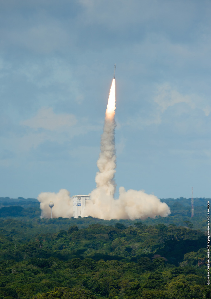 The Vega rocket lifted off at 10:51 a.m. French Guiana time. Credit: ESA/CNES/Arianespace – Photo Optique Video du CSG – P. Baudon