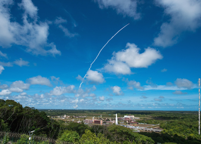 The Vega rocket soars into a mostly clear sky above the Guiana Space Center on Monday. Credit: ESA/CNES/Arianespace – Photo Optique Video du CSG – P. Baudon