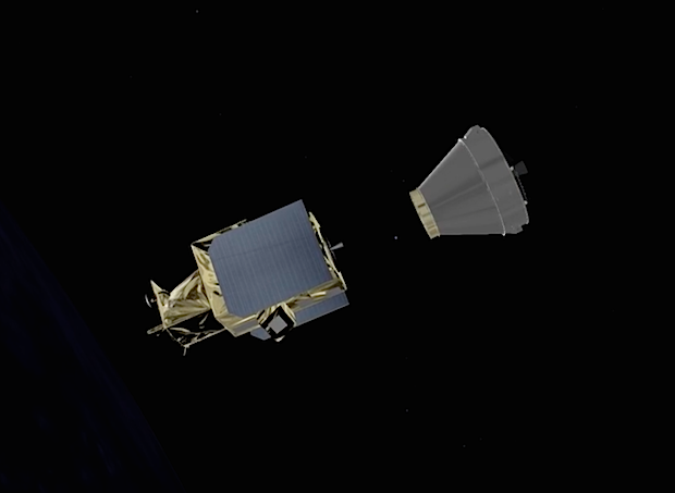 The 2,337-pound (1,060-kilogram) Gokturk 1 Earth observation satellite separates from the Vega's AVUM fourth stage to begin a seven-year mission for the Turkish military. The AVUM main engine will ignite again at T+plus 1 hour, 46 minutes, 10 seconds, for a deorbit burn.