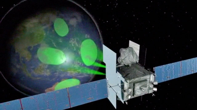 An artist's concept of WGS spotbeams for communications. Credit: Boeing