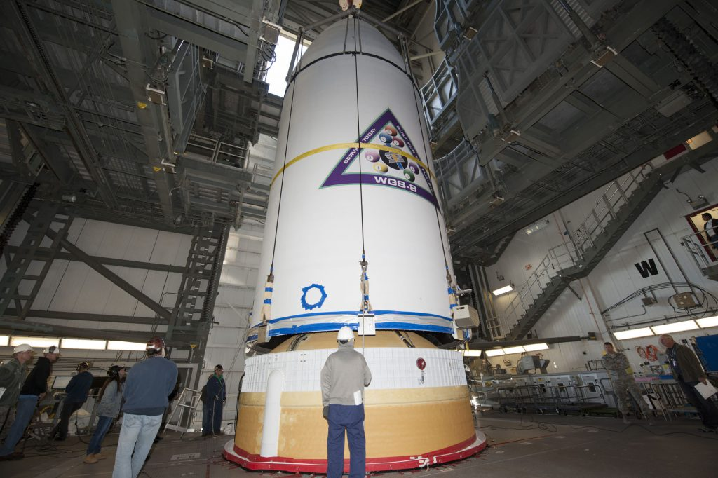 WGS 8 was hoisted atop the Delta 4 on Nov. 21. Credit: United Launch Alliance